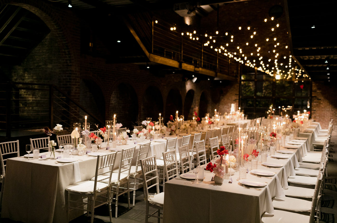 The reception space was ultra minimalist, with lots of lights and black walls