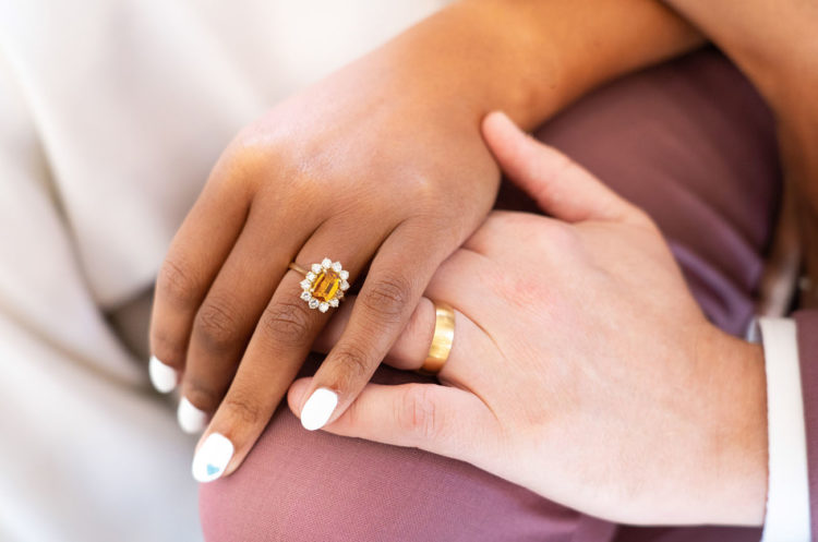 The wedding ring was a chic mustard one