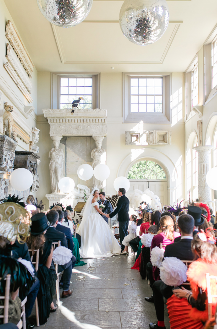 The venue itself is very refined, the couple added some balloons, feathers and taxidermy