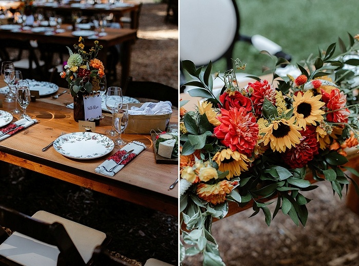 The reception tables were done with bright floral centerpieces, floral print plates and bright napkins