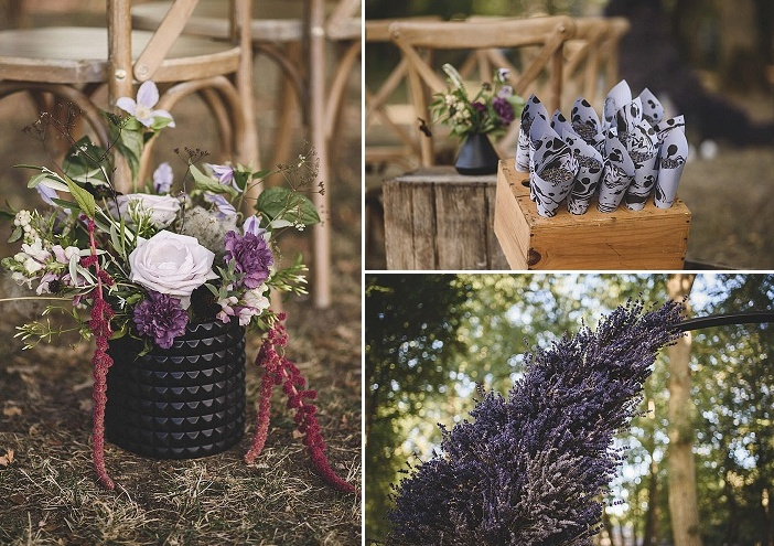 The wedding florals were done in purple and lilac, with greenery and pink touches