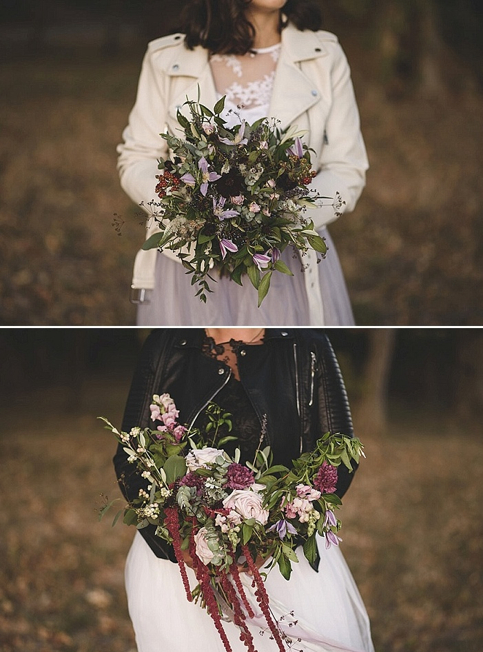 The wedding bouquets were textural, with much greenery, dark and lilac blooms