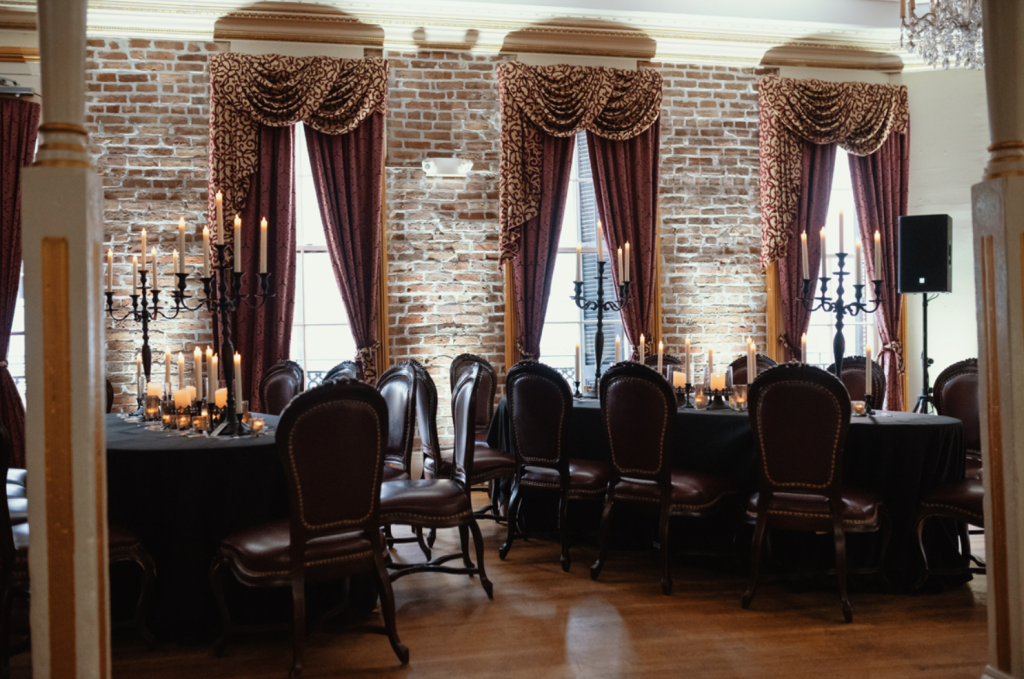 The wedding reception was very refined and done in dark tones