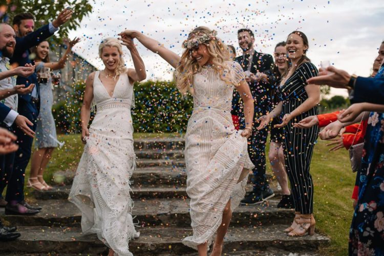 The brides and their guests had a lot of fun at the wedding