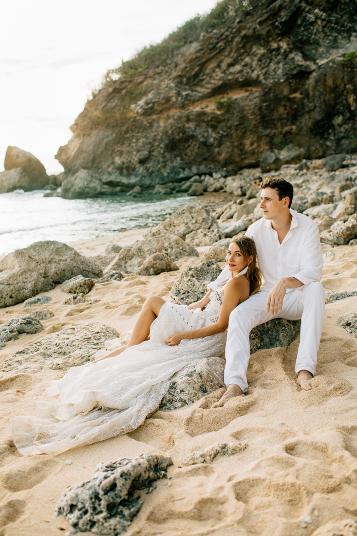 The couple went to the beach for wedding portraits