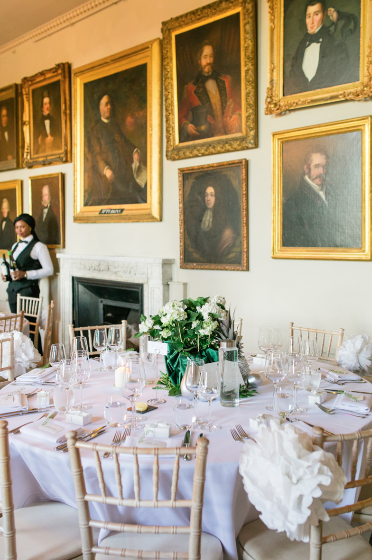 The wedding reception space was very chic and refined, done in neutrals