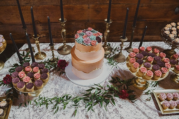 The wedding cake was a chocolate gluten-free one, with sugar blooms and cacti
