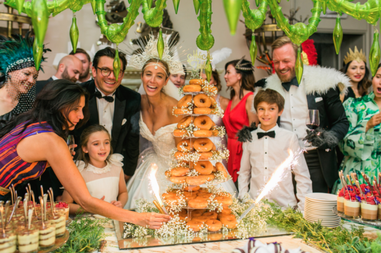 The wedding cake was skipped and the couple chose a donut tower