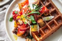 22 parmesan waffles served with balsamic roasted vegetables are a tasty idea for a brunch wedding