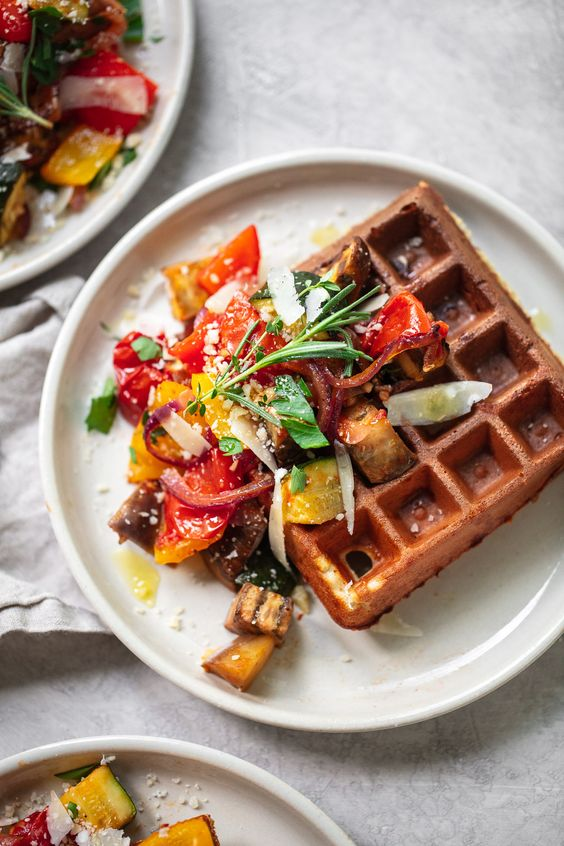 parmesan waffles served with balsamic roasted vegetables are a tasty idea for a brunch wedding