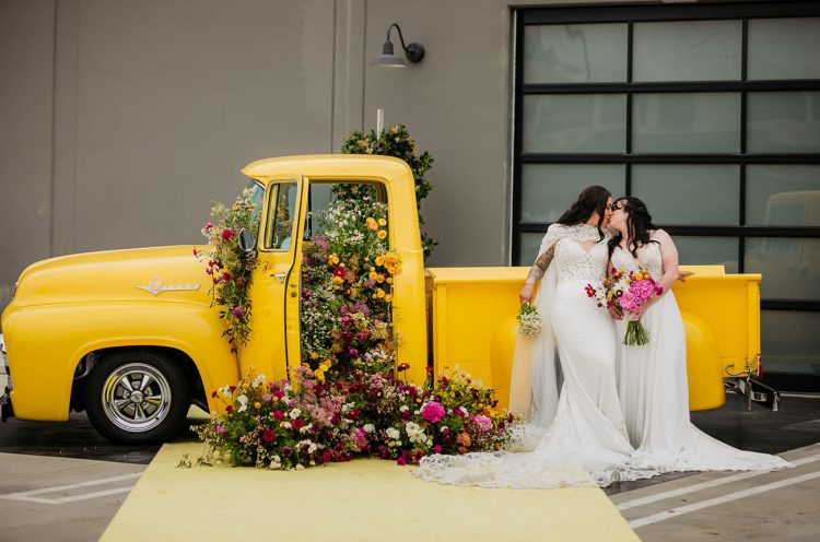 Colorful Micro Wedding With A Truck Full Of Flowers