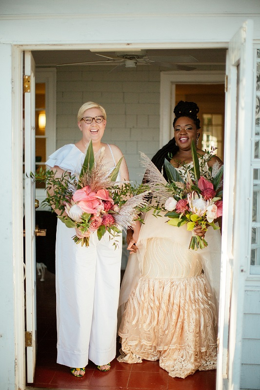 This couple went for a bright eclectic wedding that united their cultures and had a lot of fun