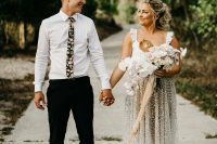 01 This couple went for a fun iridescent Caribbean wedding inspired by the bride's skirt
