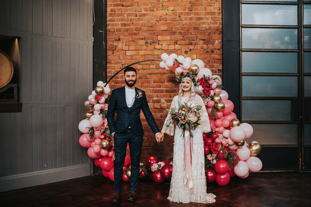 This couple went for an all DIY wedding at a brewery, they chose pink as their main color