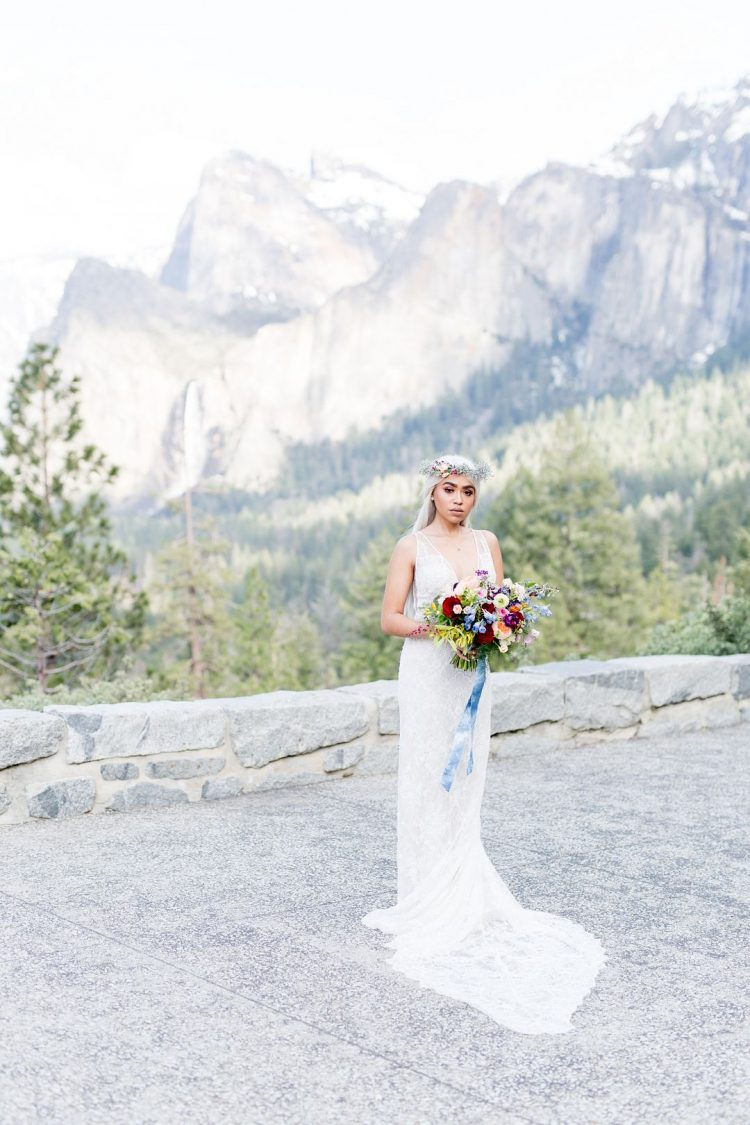 This wedding shoot took place in Yosemite National Park, with lots of bright colors and bold florals