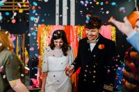 01 This wedding shoot was super bright, fun and kitschy, with bold decor and blooms