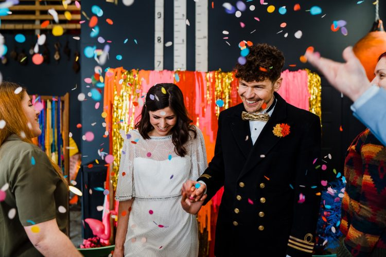 Kitsch Colourful Wedding Shoot In A Boat Shed