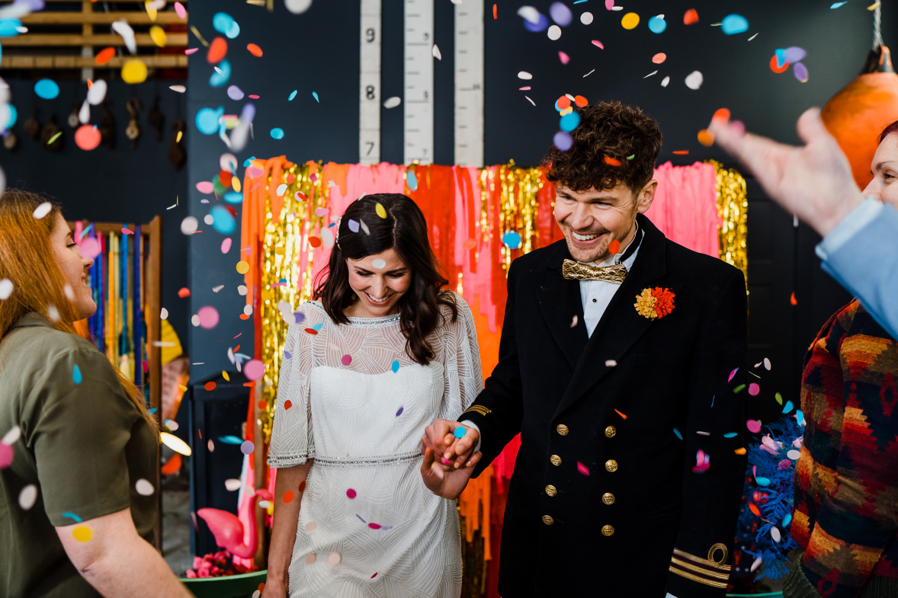 This wedding shoot was super bright, fun and kitschy, with bold decor and blooms