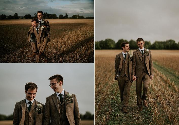 Both grooms were wearing matching brown three-piece suits with hunter green ties and matching boutonnieres