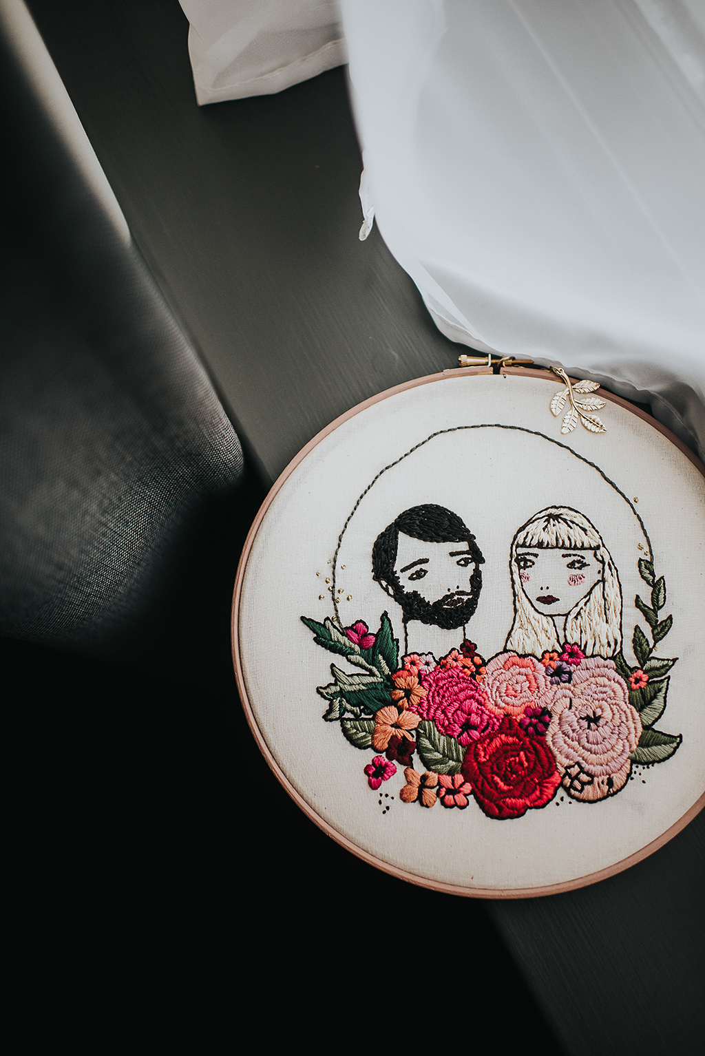 The couple's portrait was the inspiration for the wedding and it was used throughout the venue for decor