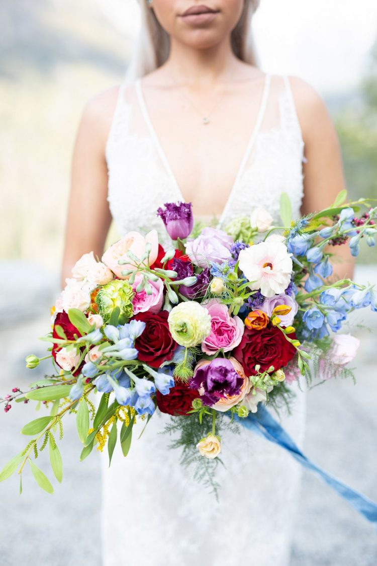 The wedding bouquet reflected the shoot theme - florals in all the different colors