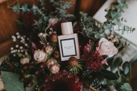 02 The wedding bouquet was a lovely one, with blush and burgundy tones and lots of eucalyptus