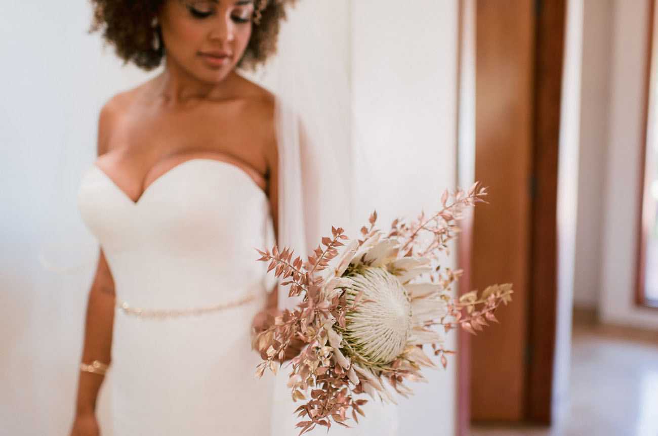 The wedding bouquet was done with king protea that is so much loved by the bride