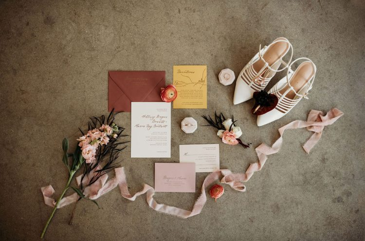 The wedding invitation suite was super cool, with neutral and fall-colored parts