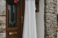 03 The wedding dress was a lace one, with a touch of bling, a train and the bride added dusty pink shoes