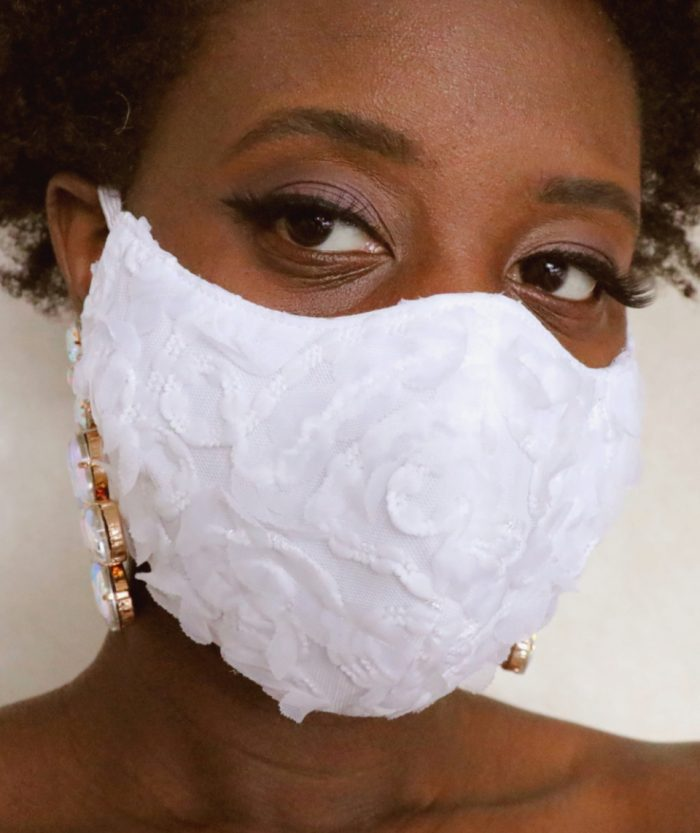 a bridal flower texture face mask is a romantic accessory that brings a chic and elegant feel