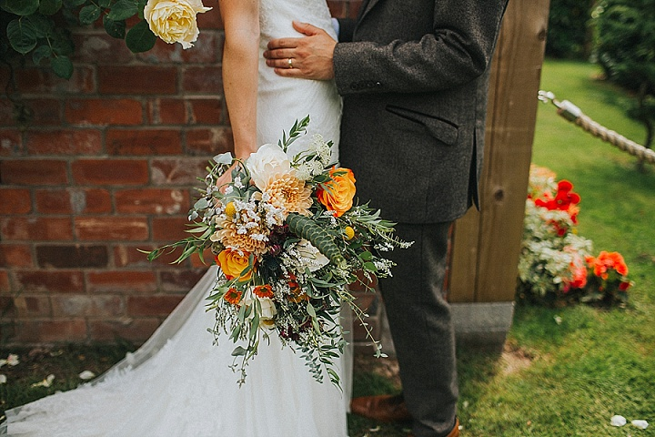 All the florals including this wedding bouquet were arranged by the bride and her family