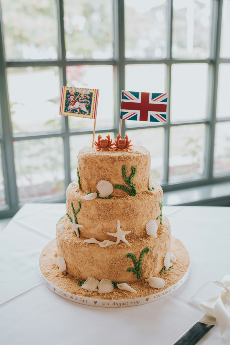 The wedding cake was a beach one, decorated with sugar crabs, starfish and seashells