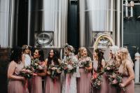 05 The bridesmaids were rocking blush pleated halter neckline dresses