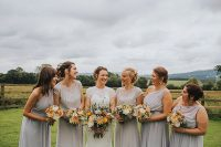 05 The bridesmaids were wearing silver and grey mismatching dresses and separates