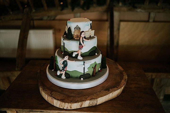 The wedding cake was a fun one showing off the couple's favorite running routes