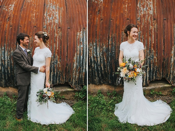 The bride was wearing a cute and romantic updo with fresh blooms and som waves down