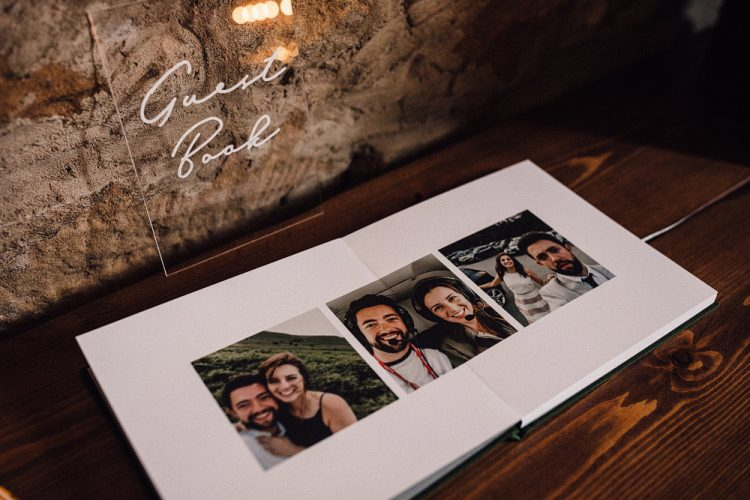 The guest book was a creative one, with the couple's photos in it