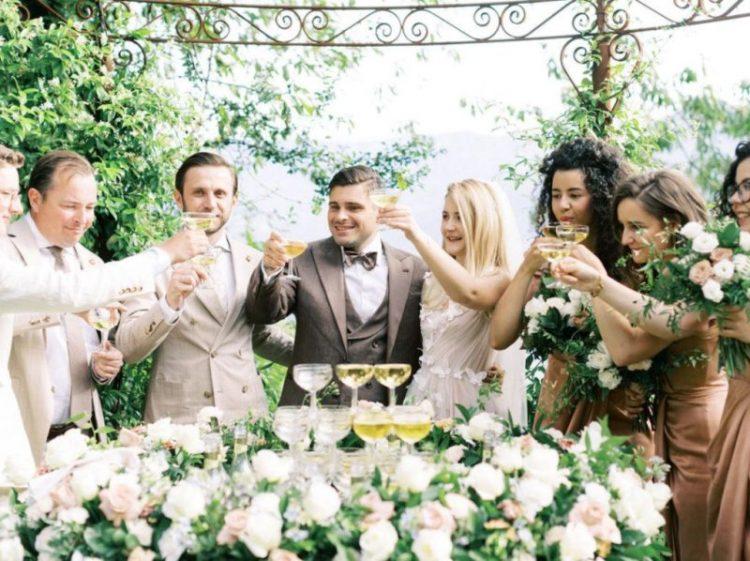 a stylish wedding champagne tower