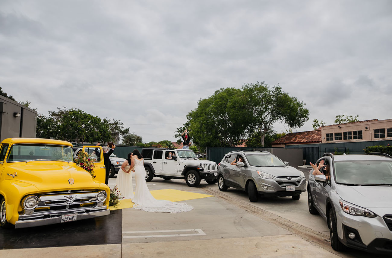 The guests stayed in a car by the brides' side