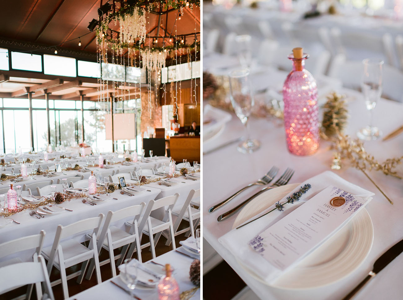 The reception space was done elegant, with lavender, gilded pinecones and herbs, pink bottles with candles