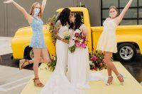 08 The bridesmaids were wearing mismatching pastel mini dresses