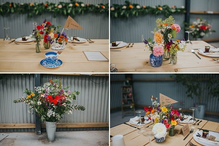 The tables were decorated simply, with bright blooms and greenery and some paper flags