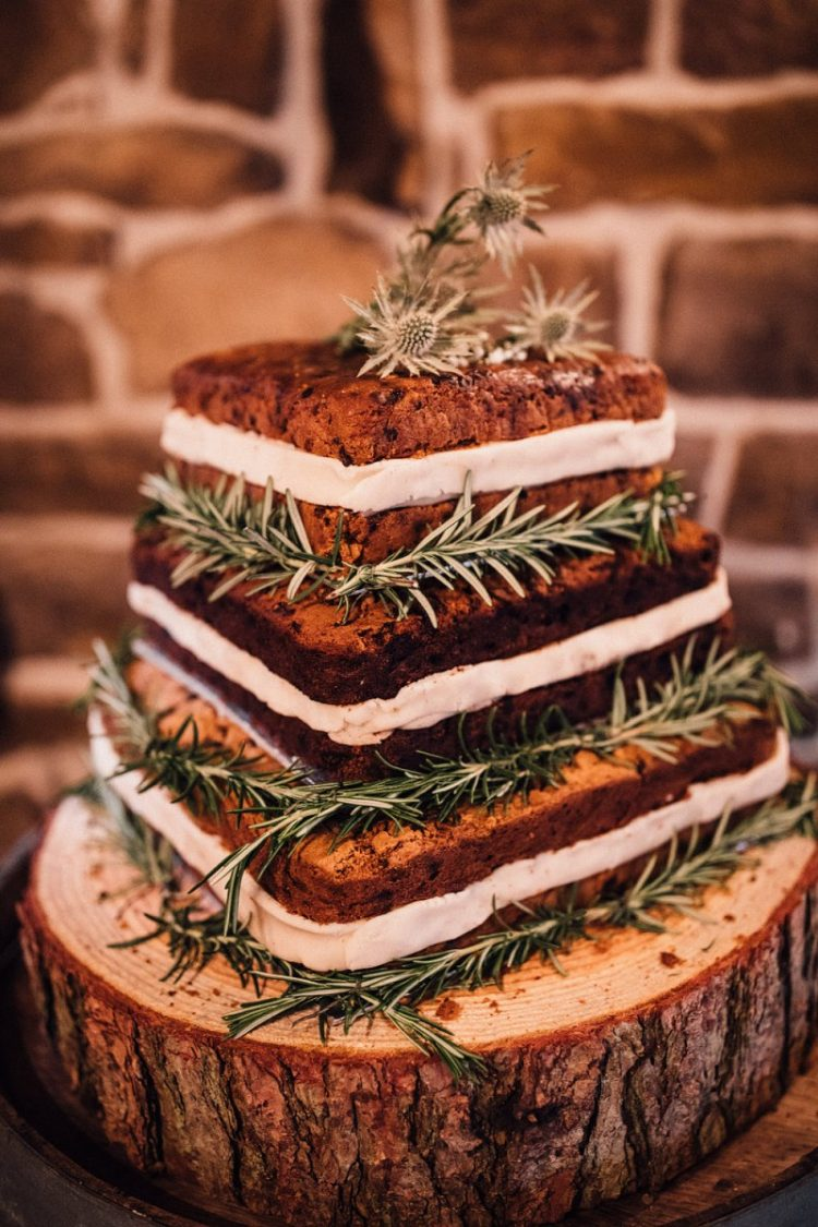 The wedding cake was a naked one and delicious, decorated with rosemary and thistles