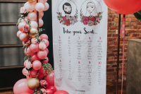 08 The wedding portrait was placed on the seating chart, too, and it was decorated with ombre balloons