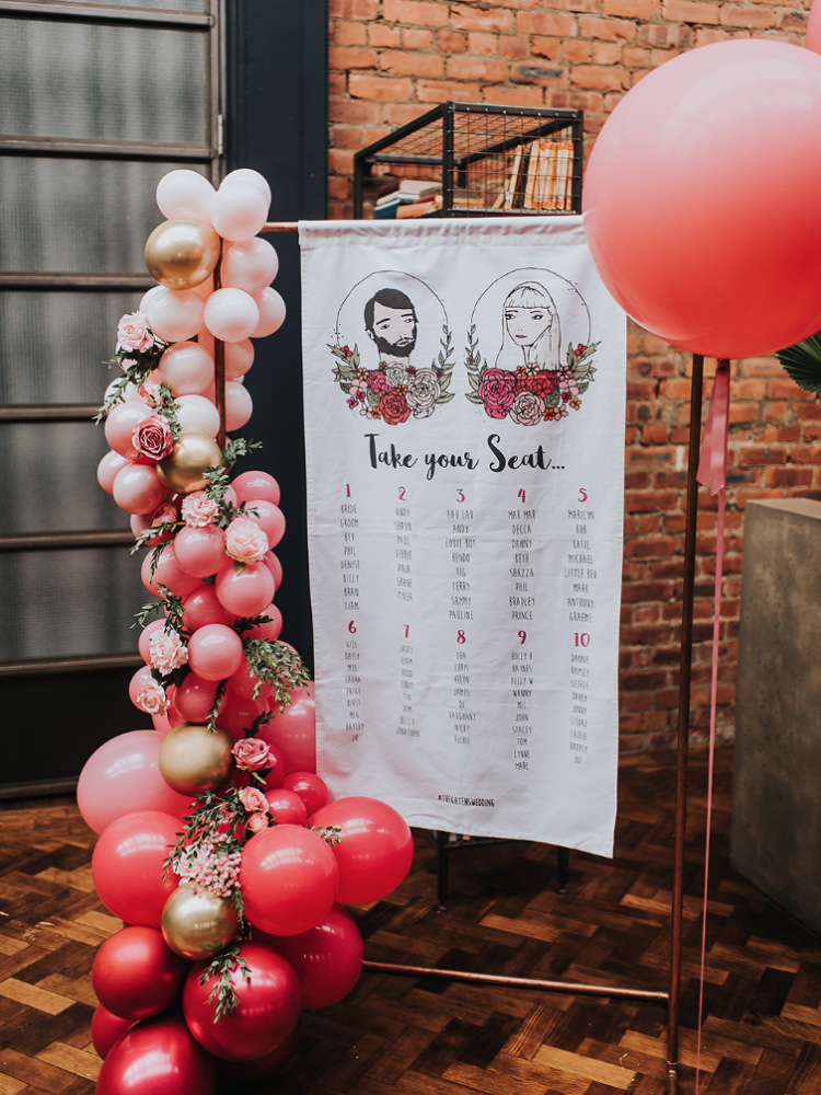 The wedding portrait was placed on the seating chart, too, and it was decorated with ombre balloons