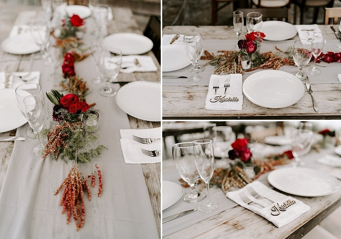 The wedding reception tables were decorated with light grey runners, bright blooms, greenery and leaves