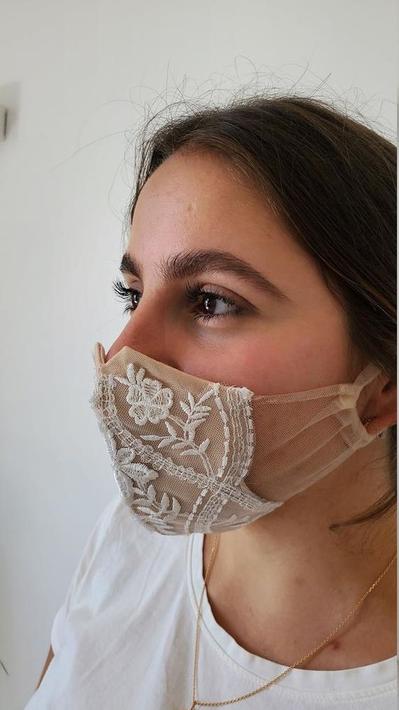 a nude mask accented with white lace and embroidery is a sophisticated accessory for any bride