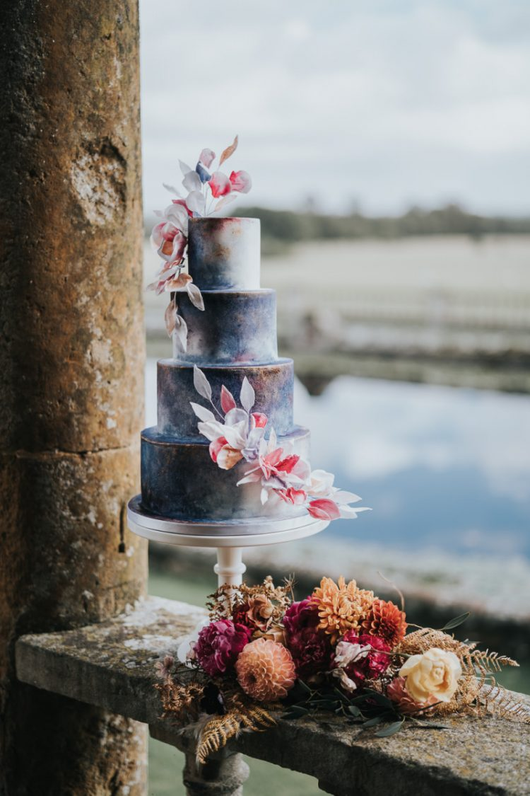 The wedding cake was a beautiful celestial one, with bold blooms