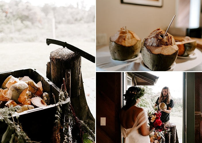 coconuts is a must for a tropical wedding