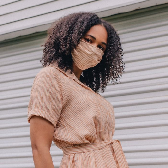 a pleated face mask with a filler pocket is a nice option for a bridesmaid or wedding guests